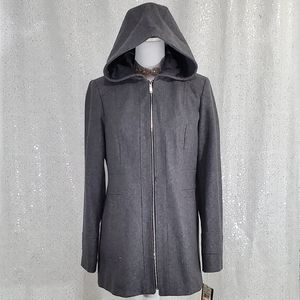 London Fog Zip Front Hooded Trench Coat